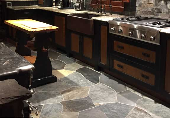 slate floor and table with chair big wooden house interior