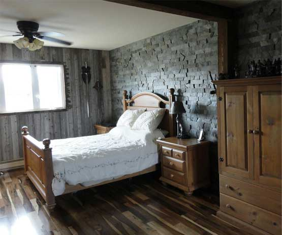 Rustic room natural slate wall paneling