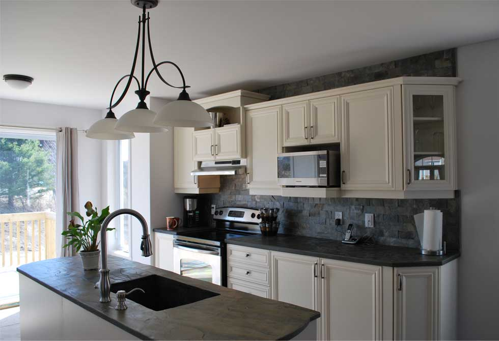 Kitchen island, countertops and backsplash