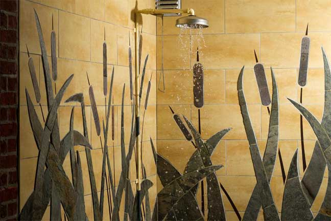 Slate shower wall mosaic