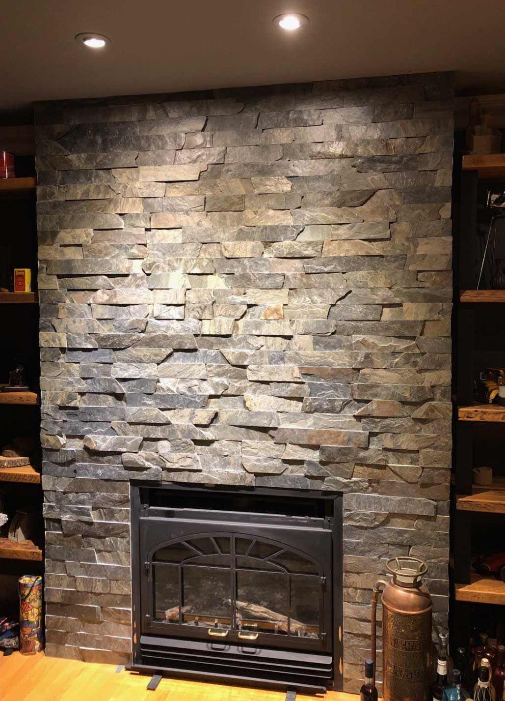 fireplace natural wall cladding