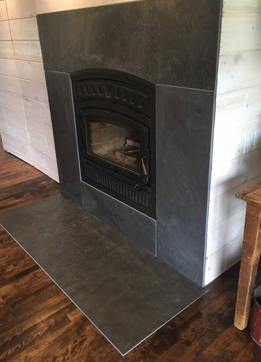 Fireplace slate panels